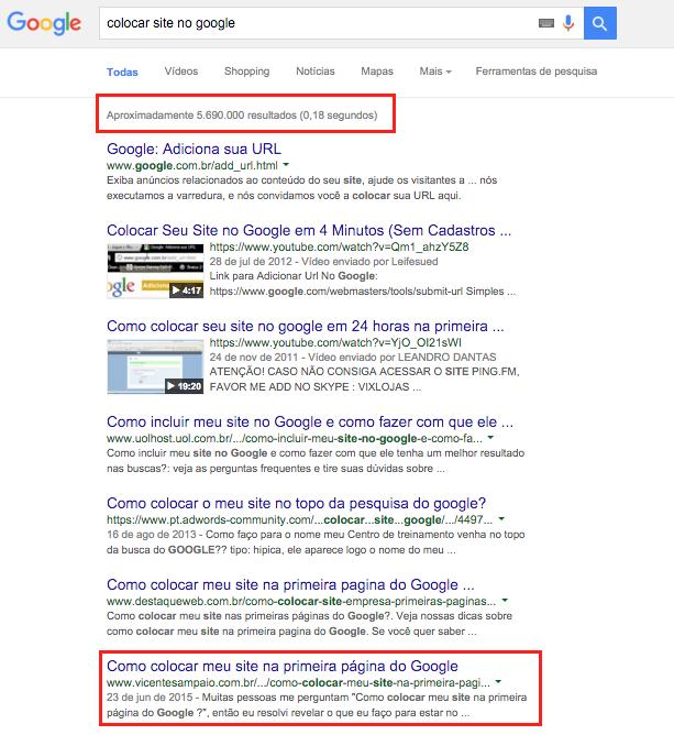 posicao site no google
