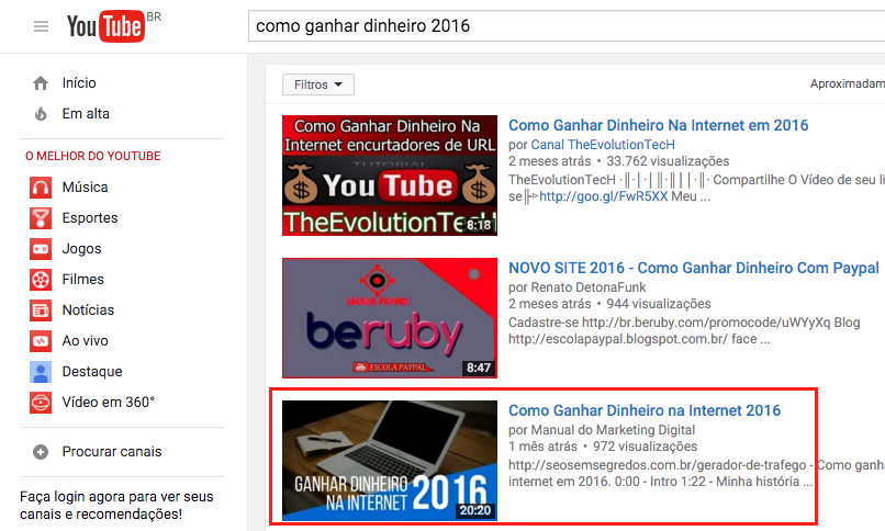 youtube resultado seo 2016