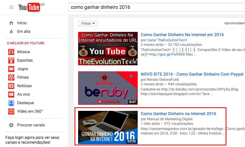 youtube resultado seo 2016